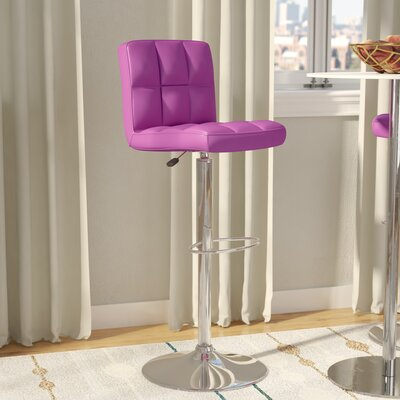 Faith Adjustable Height Swivel Bar Stool Upholstery: Purple