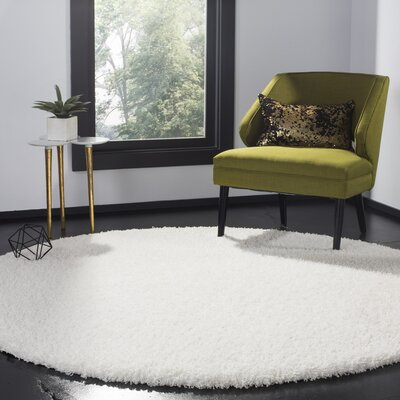 Cole White Area Rug Rug Size: Round 67 x 67