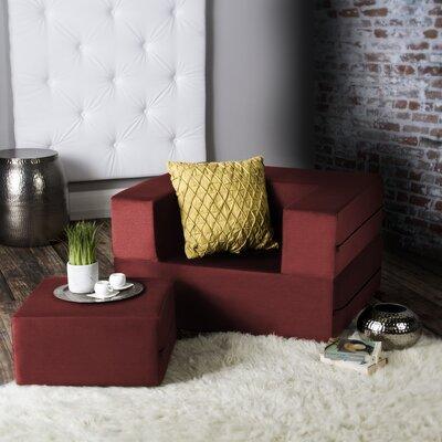 Eugene Modular Sleeper Chair with Ottoman Upholstery: Tomato