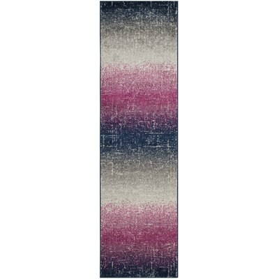 Grieve Fuchsia/Navy Area Rug Rug Size: Runner 23 x 8