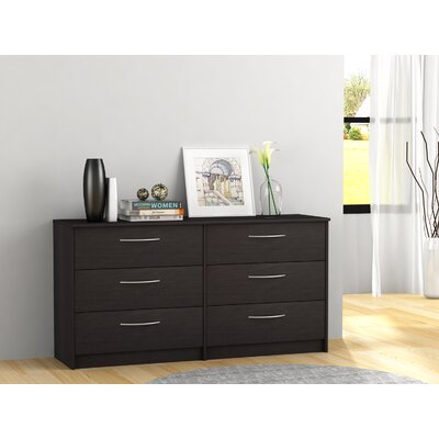 Karis 6 Drawer Double Dresser Color: Espresso