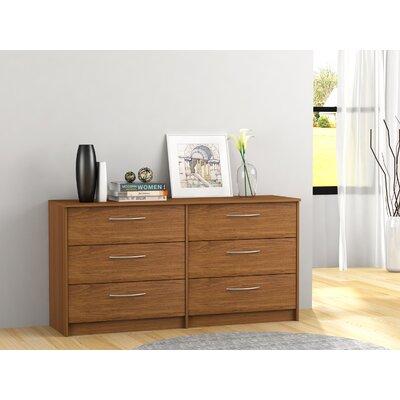 Karis 6 Drawer Double Dresser Color: Bank Alder