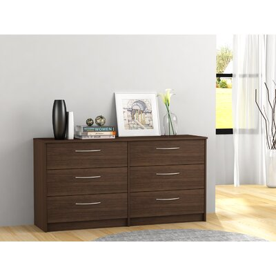 Karis 6 Drawer Double Dresser Color: Walnut