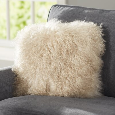 Becky Mongolian Fur Throw Pillow Color: Oyster, Size: 16 x 16