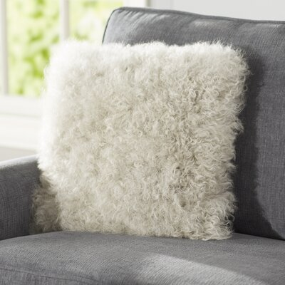 Becky Mongolian Fur Throw Pillow Color: Fog, Size: 20  x 20