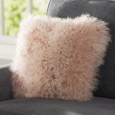 Becky Mongolian Fur Throw Pillow Color: Rose, Size: 16 x 16