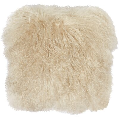 Becky Mongolian Fur Throw Pillow Color: Oyster, Size: 16 L x 16 W