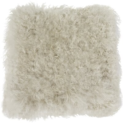 Becky Mongolian Fur Throw Pillow Color: Fog, Size: 16 L x 16 W