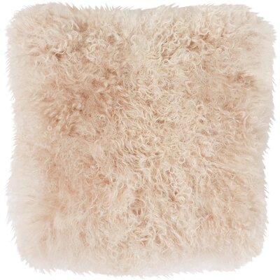 Becky Mongolian Fur Throw Pillow Color: Rose, Size: 20 L x 20 W