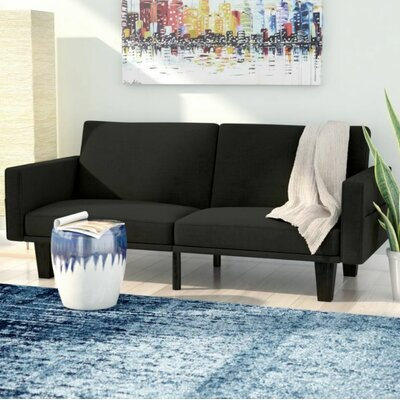 Clements Convertible Sofa Color: Black