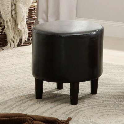 Sheila Ryker Leather Padded Round Ottoman Upholstery: Black