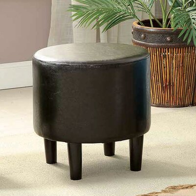 Sheila Ryker Leather Padded Round Ottoman Upholstery: Brown