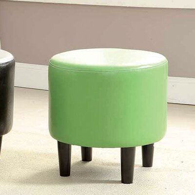 Sheila Ryker Leather Padded Round Ottoman Upholstery: Green