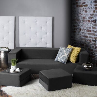Eugene Convertible Sleeper Sofa with Ottomans Upholstery: Black