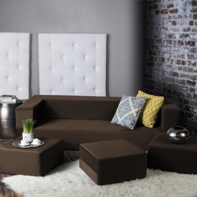 Eugene Convertible Sleeper Sofa with Ottomans Upholstery: Java
