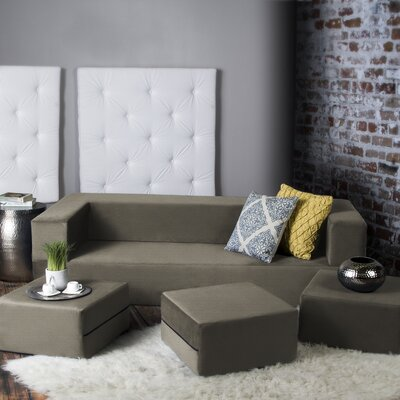 Eugene Convertible Sleeper Sofa with Ottomans Upholstery: Mocha