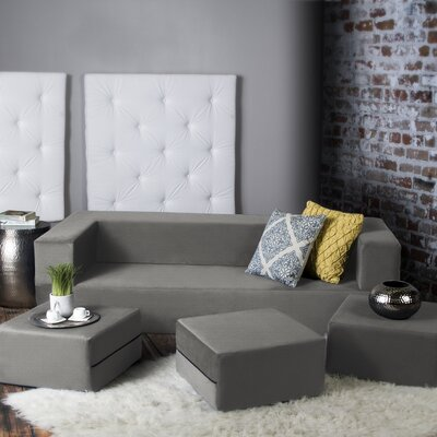 Eugene Convertible Sleeper Sofa with Ottomans Upholstery: Pewter
