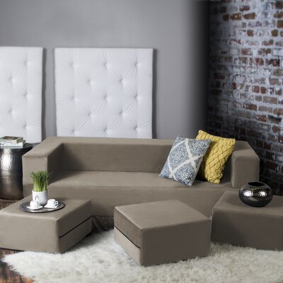 Eugene Convertible Sleeper Sofa with Ottomans Upholstery: Sand
