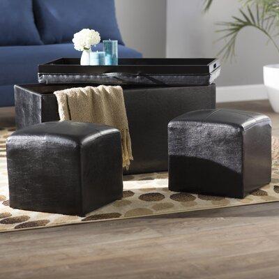 Marla 3 Piece Storage Ottoman Set Upholstery: Black