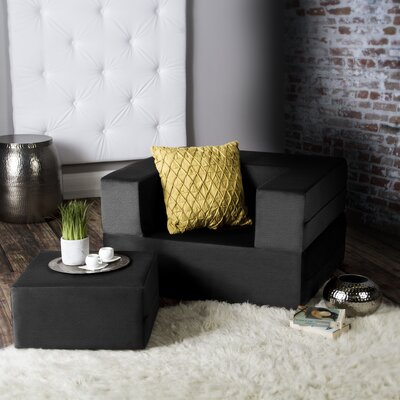 Eugene Modular Sleeper Chair with Ottoman Upholstery: Black