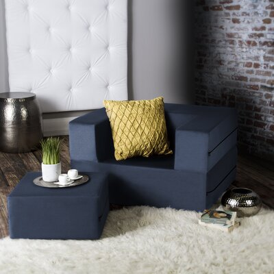 Eugene Modular Sleeper Chair with Ottoman Upholstery: Blue