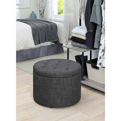 Stansell Round Shoe Ottoman Upholstery: Gray Fabric