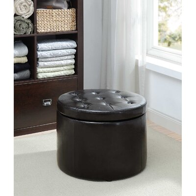 Stansell Round Shoe Ottoman Upholstery: Black