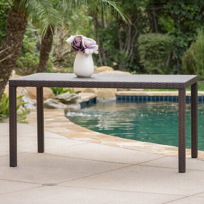 Joselyn Outdoor Wicker Rectangular Dining Table
