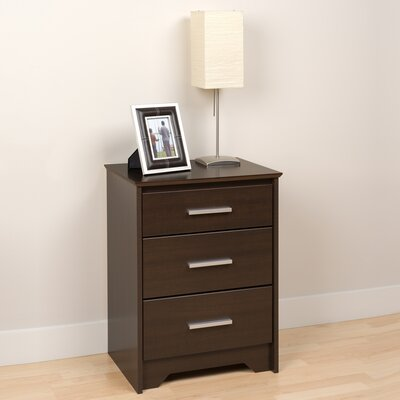 Oleanna 3 Drawer Night Stand Color: Espresso