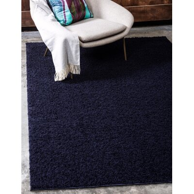 Wilfred Solid Shag Midnight Blue Area Rug Rug Size: Rectangle 5 x 8