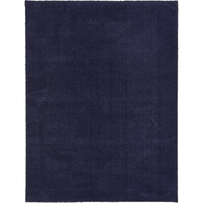 Wilfred Solid Shag Midnight Blue Area Rug Rug Size: Rectangle 9 x 12