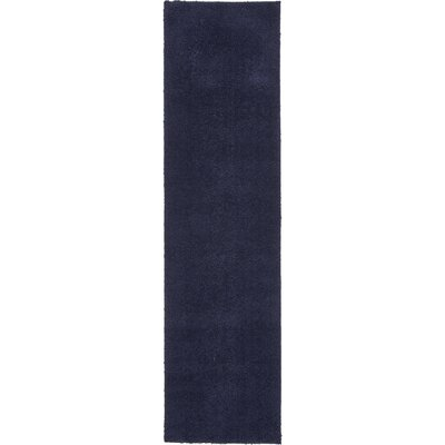 Wilfred Solid Shag Midnight Blue Area Rug Rug Size: Runner 27 x 10
