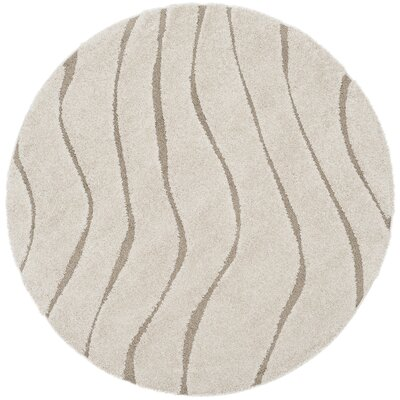 Enrique Cream/Beige Area Rug Rug Size: Round 67 x 67