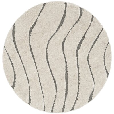 Enrique Cream/Gray Area Rug Rug Size: Round 67 x 67
