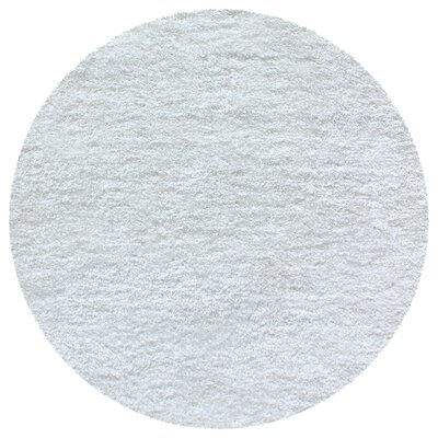 Catharine Hand-Woven White Area Rug Rug Size: Round 66