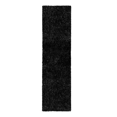 Catharine Hand-Woven Black Area Rug Rug Size: Runner 26 x 8