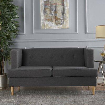Ariade Fabric Loveseat Upholstery: Dark Grey