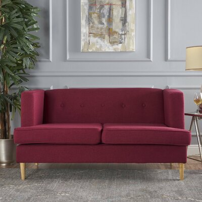 Ariade Fabric Loveseat Upholstery: Deep Red