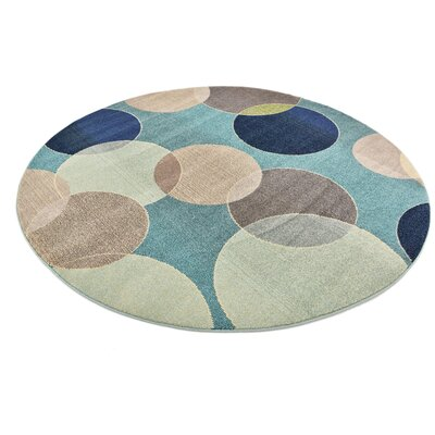 Chenango Rectangle Blue Area Rug Rug Size: Round 8