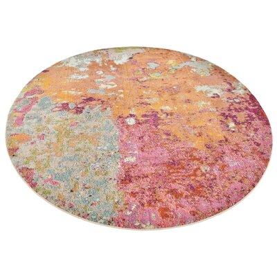 Chenango Rectangle Orange/Pink Area Rug Rug Size: Round 8