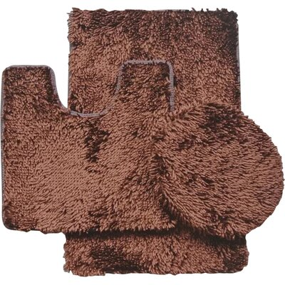 Shauna 3 Piece Bath Rug Set Color: Brown