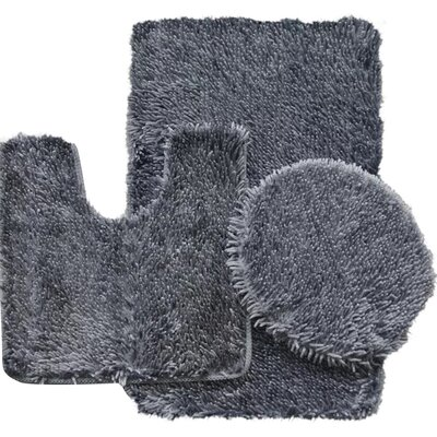 Shauna 3 Piece Bath Rug Set Color: Gray