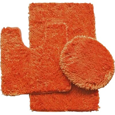 Shauna 3 Piece Bath Rug Set Color: Orange