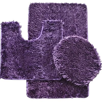 Shauna 3 Piece Bath Rug Set Color: Purple