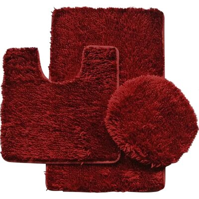 Shauna 3 Piece Bath Rug Set Color: Burgundy