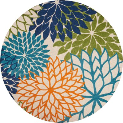Nathalie Cream Indoor/Outdoor Area Rug Rug Size: Round 710