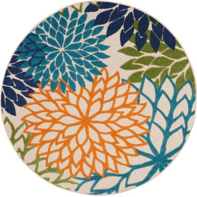Nathalie Cream Indoor/Outdoor Area Rug Rug Size: Round 53