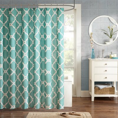 Alta Microfiber Shower Curtain Color: Aqua, Size: 96 H x 72 W