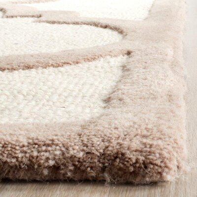 Charlenne Hand-Tufted Wool Ivory/Beige Area Rug Rug Size: Rectangle 5 x 8