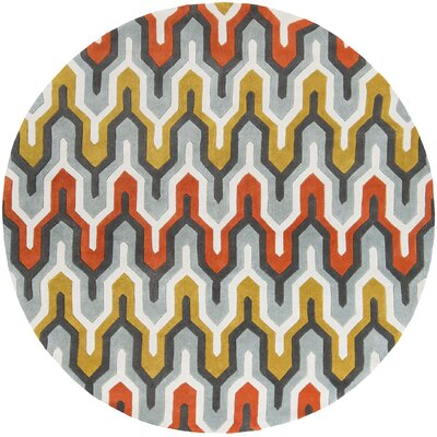 Elisa Orange/Red Area Rug Rug Size: Round 8